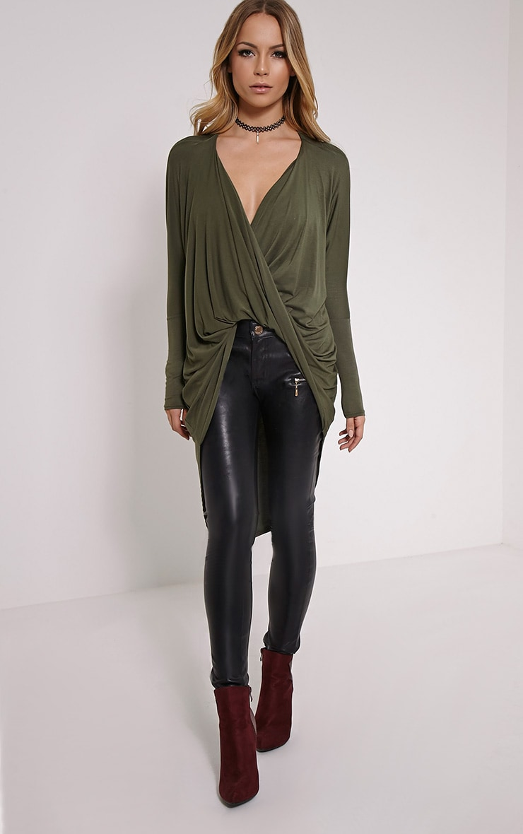 Chastity Khaki Long Twist Front Top 3