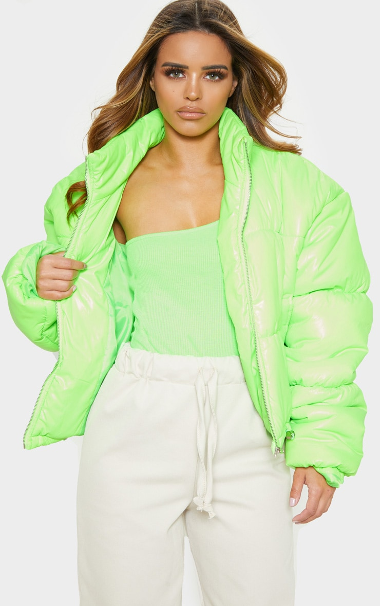 Petite Lime Cropped Neon Puffer Jacket 2