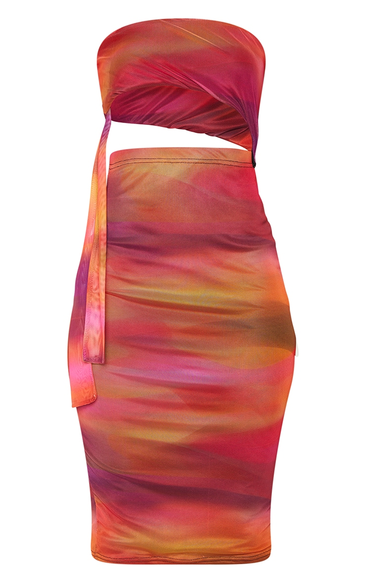 Pink Abstract Print Mesh Bandeau Cut Out Midi Dress 5
