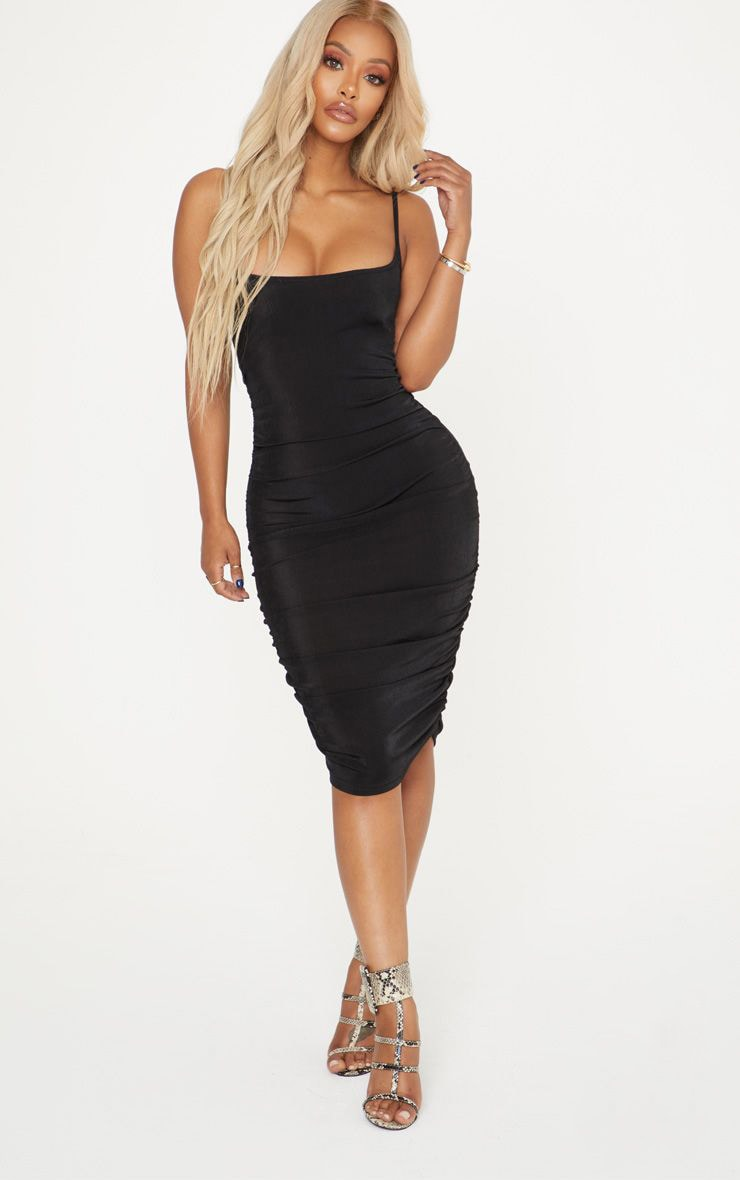 Shape Black Slinky Ribbed Ruched Bodycon Dress 1