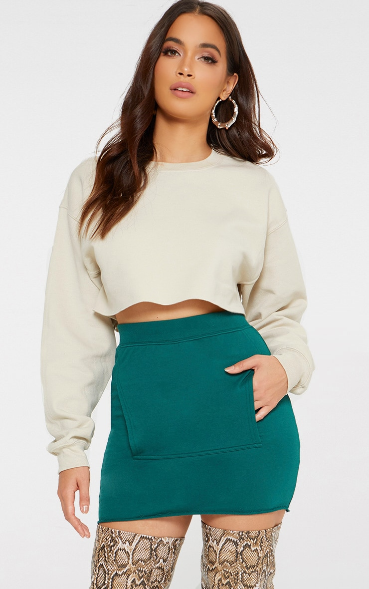 Emerald Green Sweat Pocket Mini Skirt 1