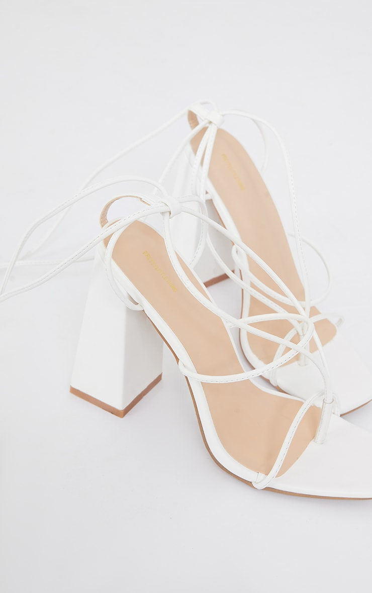 White PU Toe Detail Lace Up High Block Heeled Sandals 4