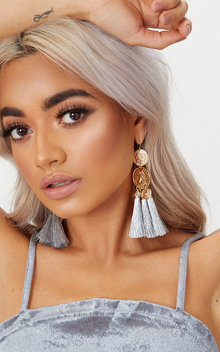 Gold Metallic Coin Drop Silver Tassel Earrings 1