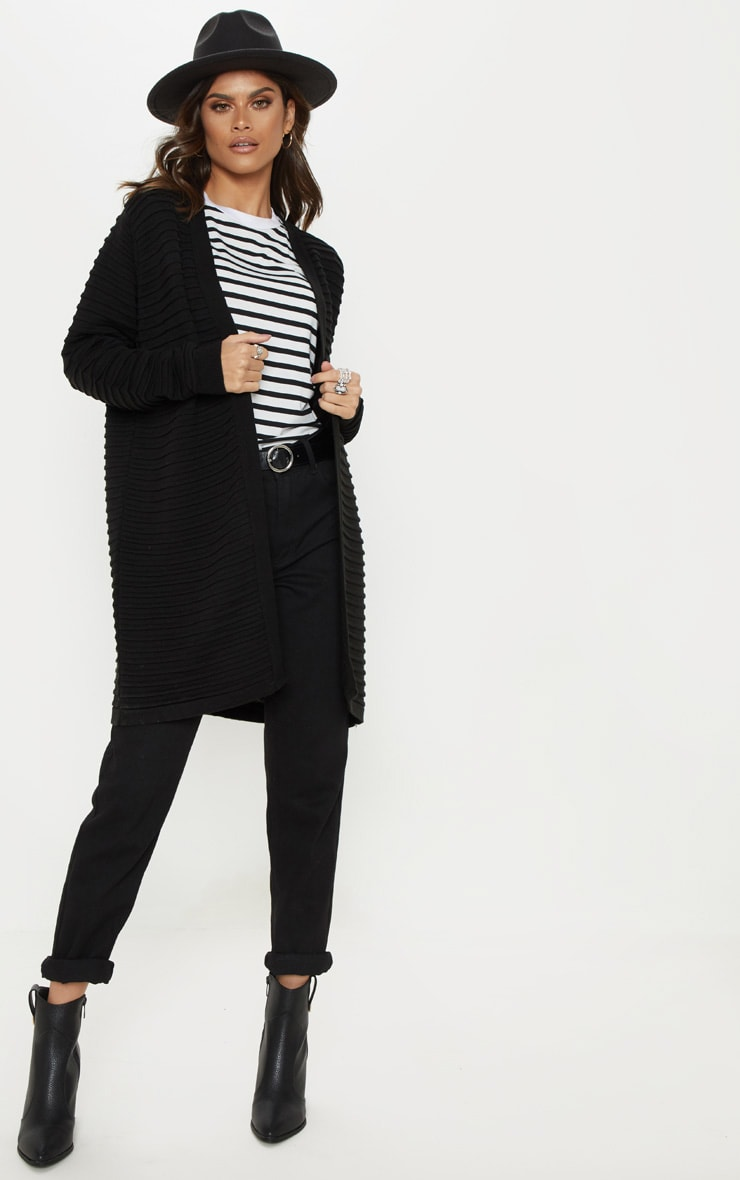 Black Chunky Ribbed Knitted  Cardigan  4