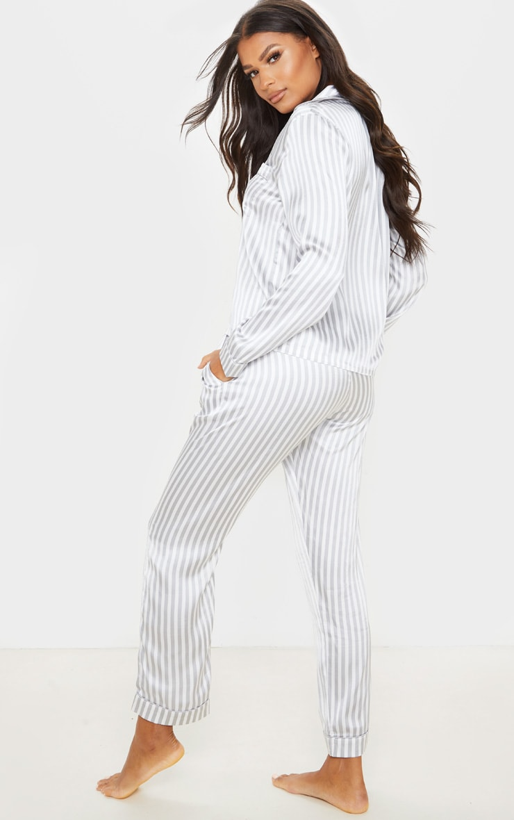 Grey Striped Satin Button Up Long PJ Set 2