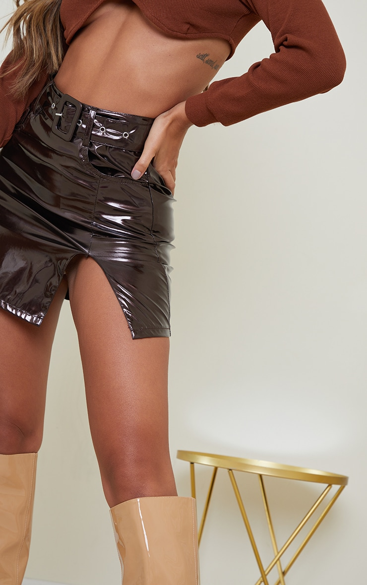 Chocolate Vinyl Belted Mini Skirt 4