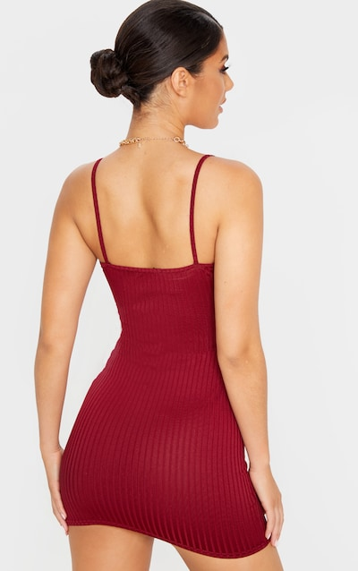 Burgundy Rib Strappy Bodycon Dress
