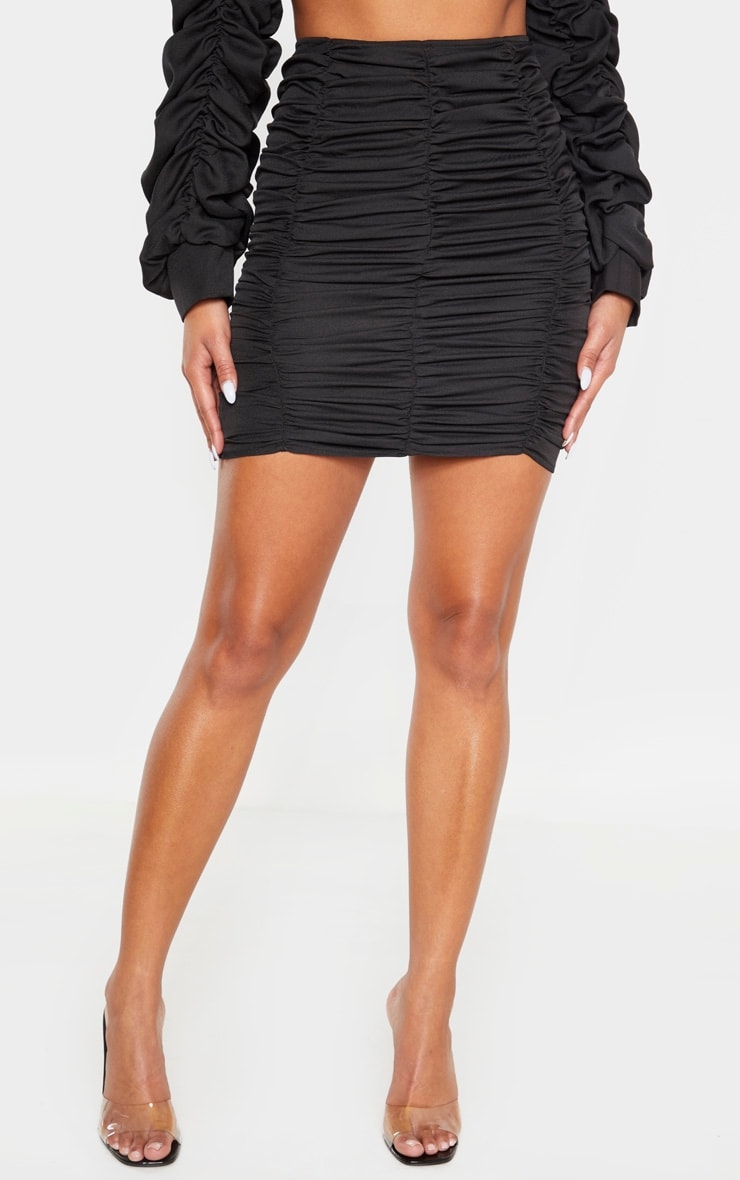 Black Ruched Seam Detail Mini Skirt 4