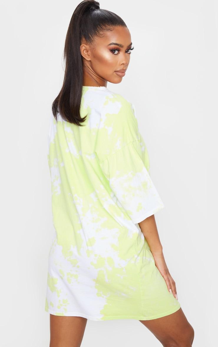 Lime Tie Dye Oversized T-Shirt Dress 2