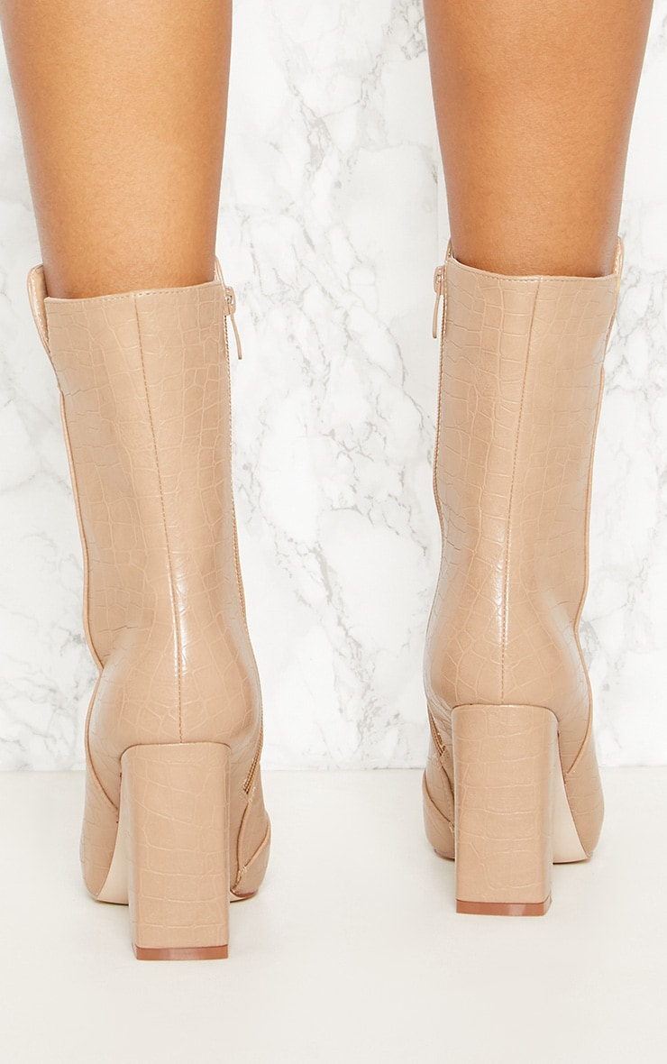 32fe2fbb0a56 PrettyLittleThing faux croc high point ankle boot at £35