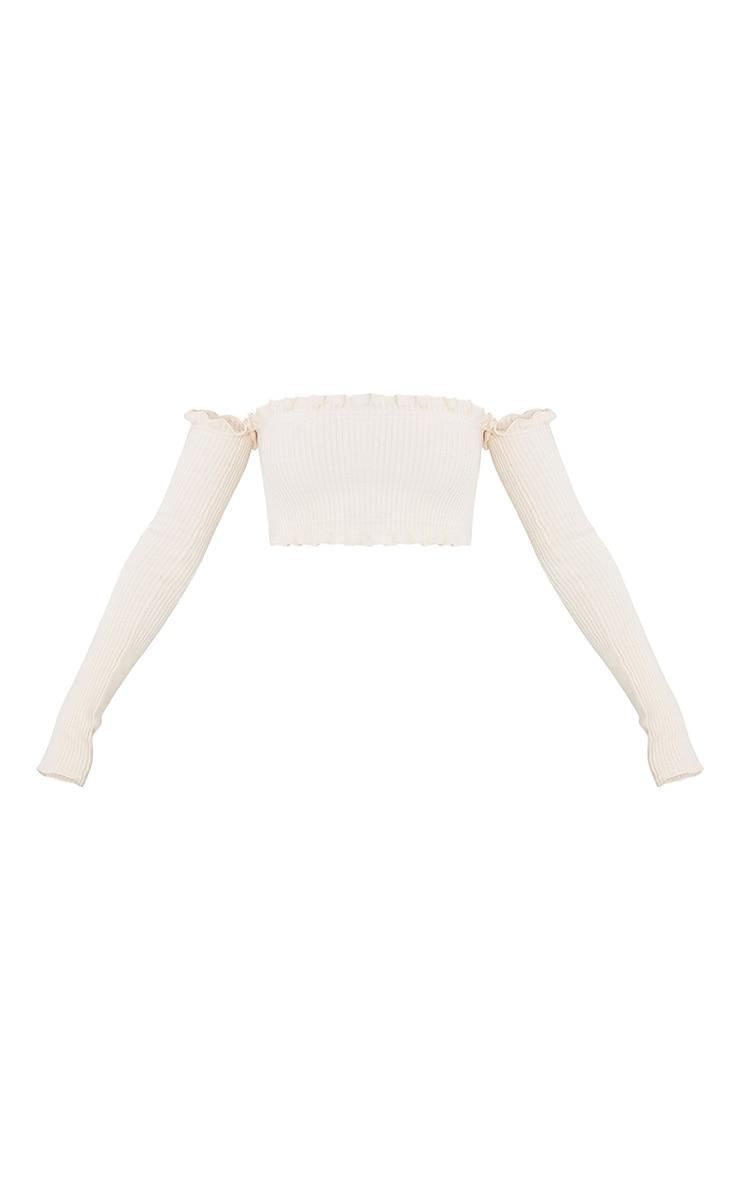 Giani Cream Ruffle Detail Knit Bardot Long Sleeve Top 3
