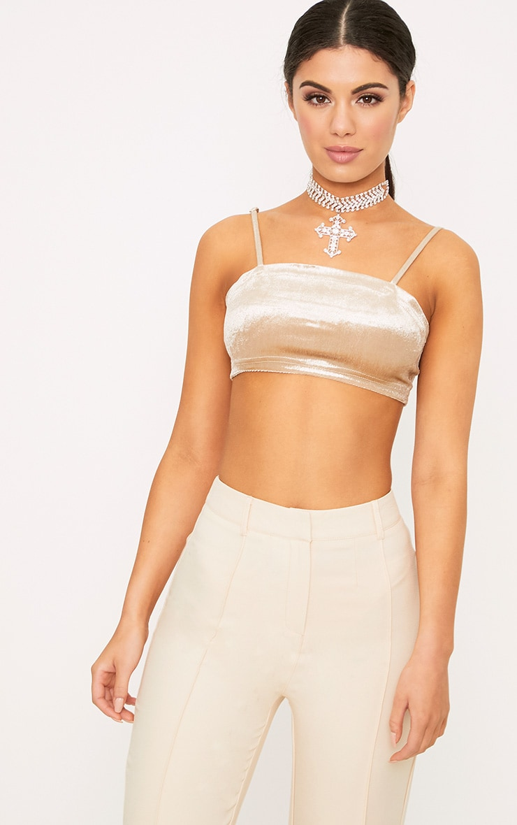 Anala Champagne Velvet Strappy Crop Top 1