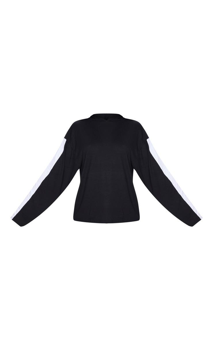 Hoodie noir à manches longues et bande latérale 5