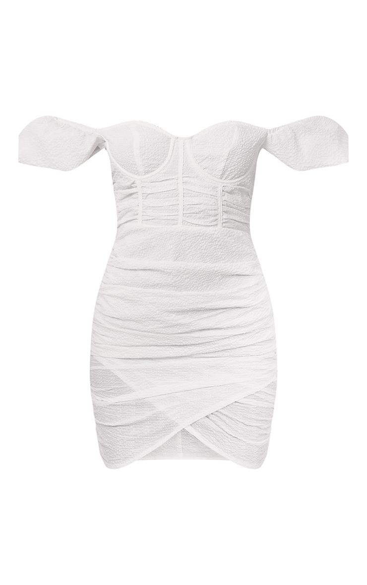White Textured Corset Detail Bodycon Dress 5