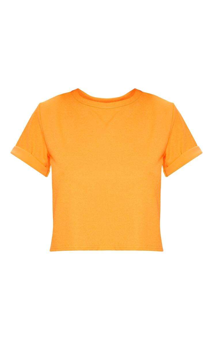 Basic Neon Orange Roll Sleeve Crop T Shirt 3