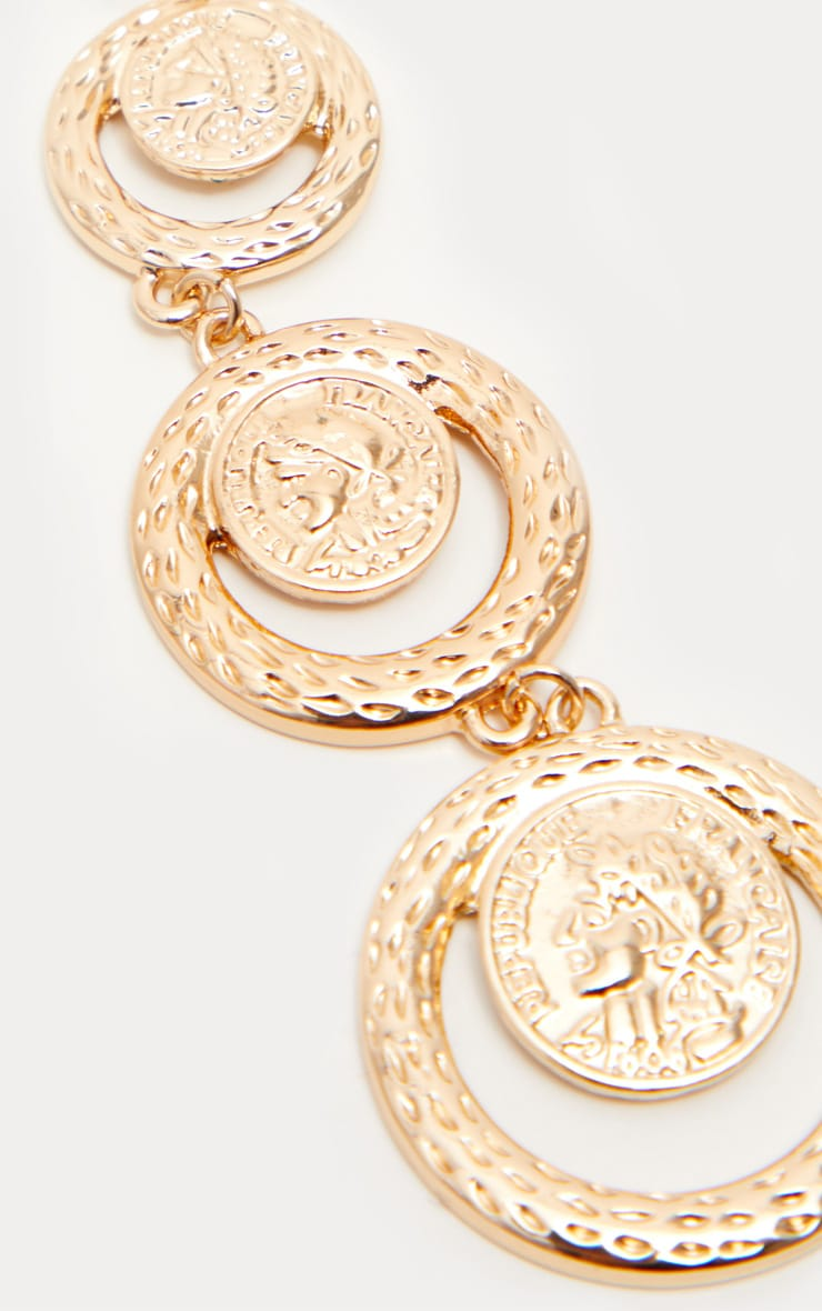 Gold Tiered Coin Drop Earrings 3