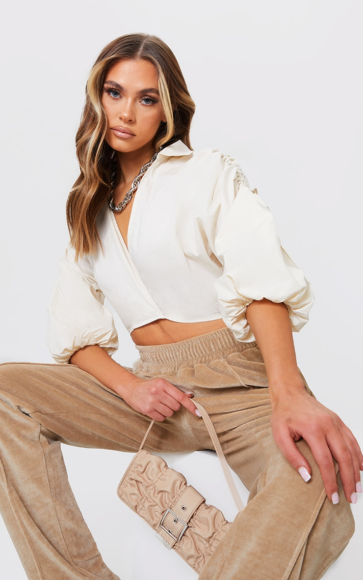 Cream Woven Plunge Ruched Sleeve Cropped Blouse 1