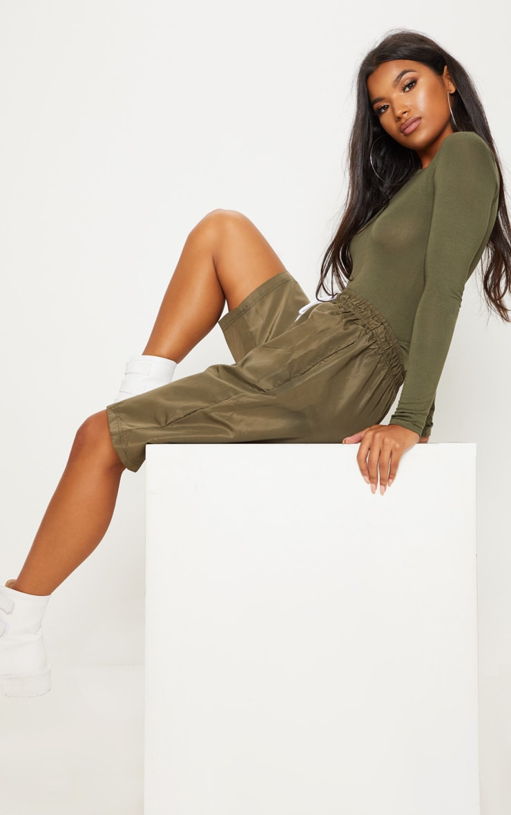 Basic Khaki Fitted Long Sleeve T Shirt 4