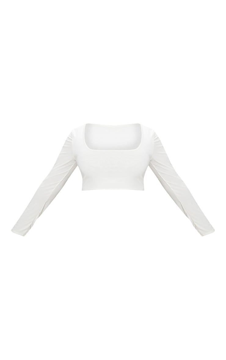 Plus White Second Skin Square Neck Long Sleeve Crop Top 4