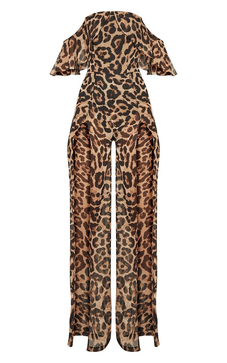 Leopard Bardot Split Leg Jumpsuit 3
