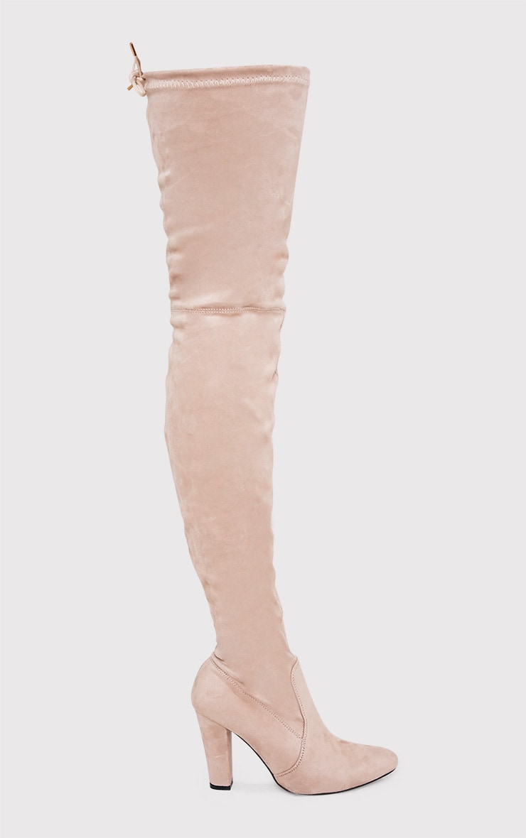 Cindy Nude Extreme Thigh High Block Heeled Boots 1