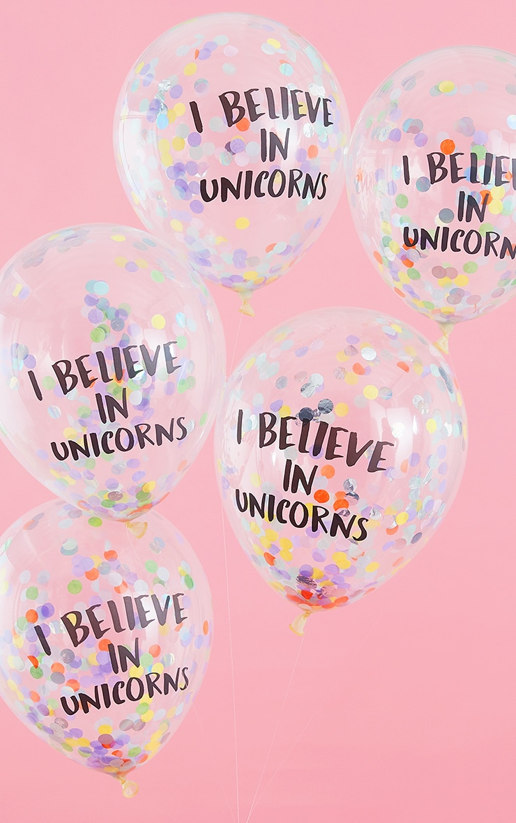 Ginger Ray I Believe In Unicorns Confetti Balloons 1