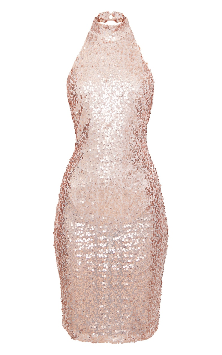 Rose Gold Sequin High Neck Midi Dress 3