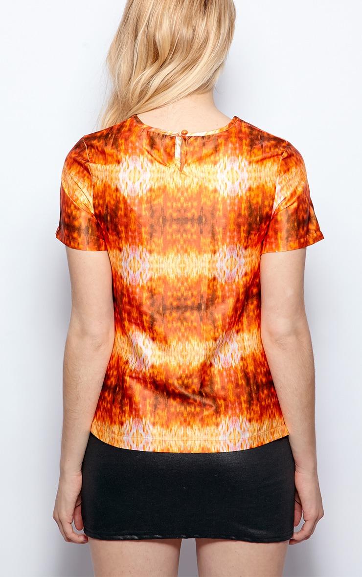 Kyra Orange Burn Out Satin Top  2