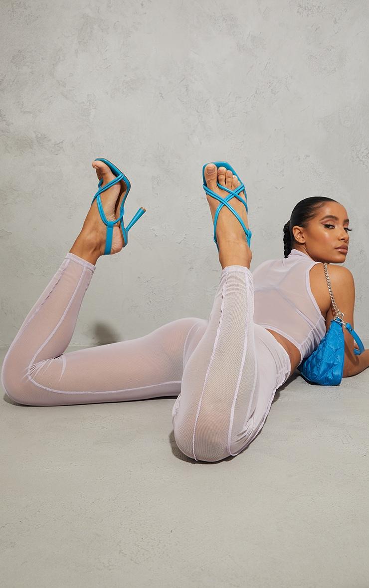 Aqua PU Knot Toe Loop Slingback High Flare Heel Sandals 1