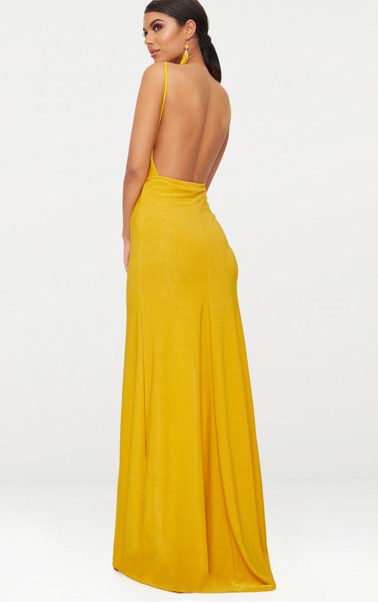 Yellow Strappy Plunge Double Split Detail Maxi Dress 2