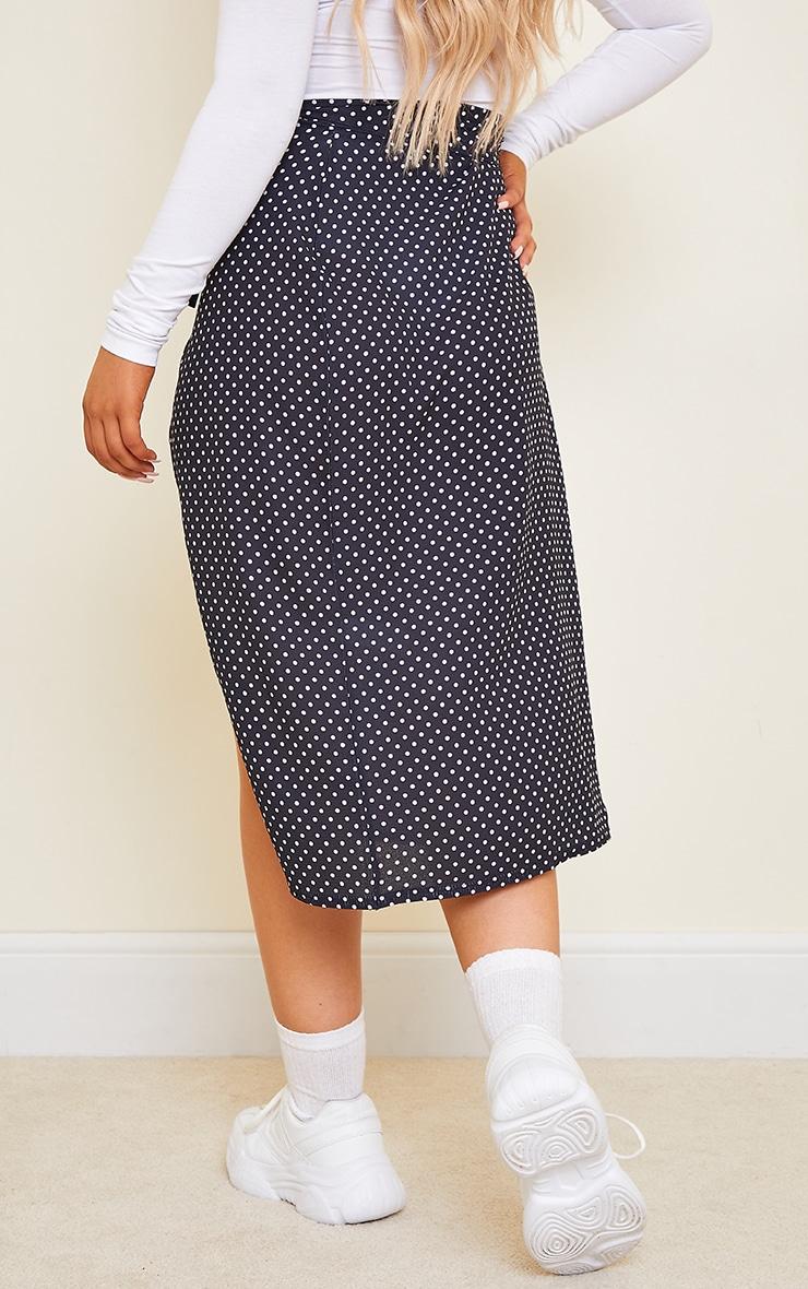 Black Wrap Around Polka Dot Midi Skirt 3
