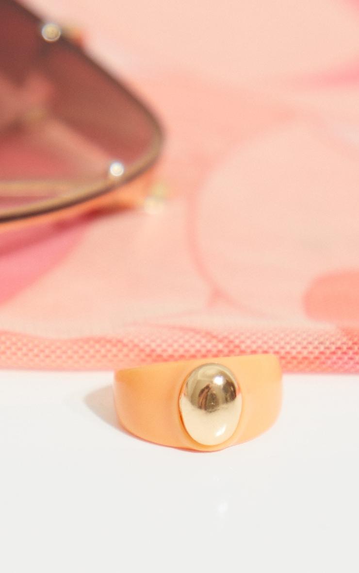 Orange Resin Gold Ball Ring 3