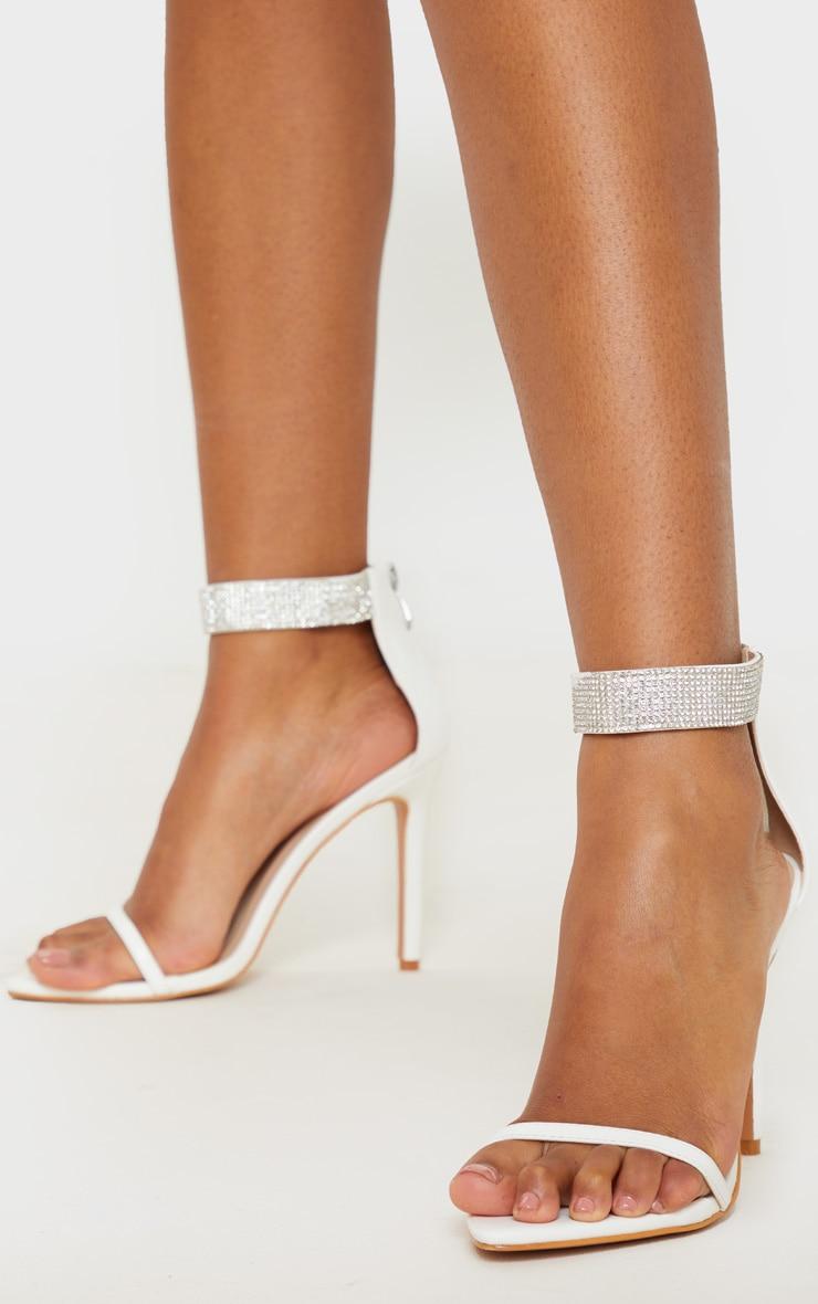 White Diamante Ankle Strappy Sandal 2