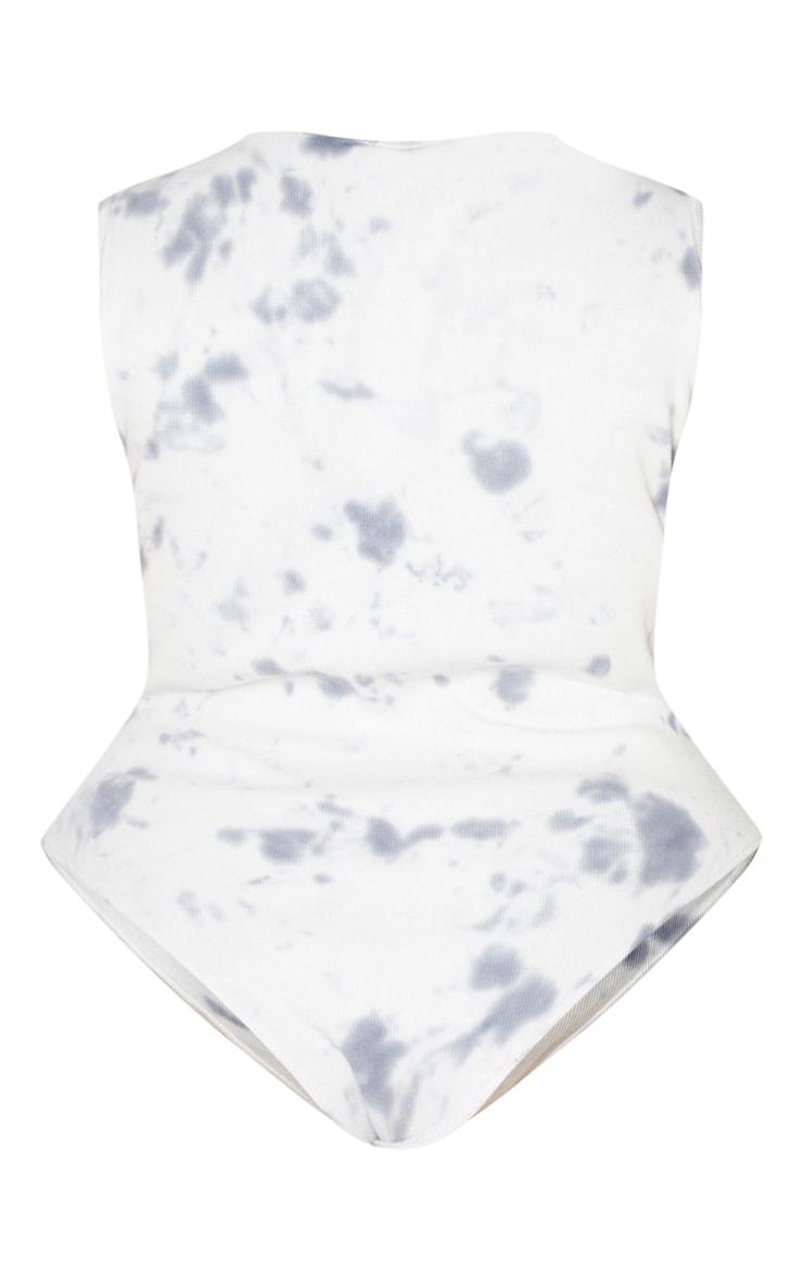 Plus White Tie Dye Scoop Neck Bodysuit 6