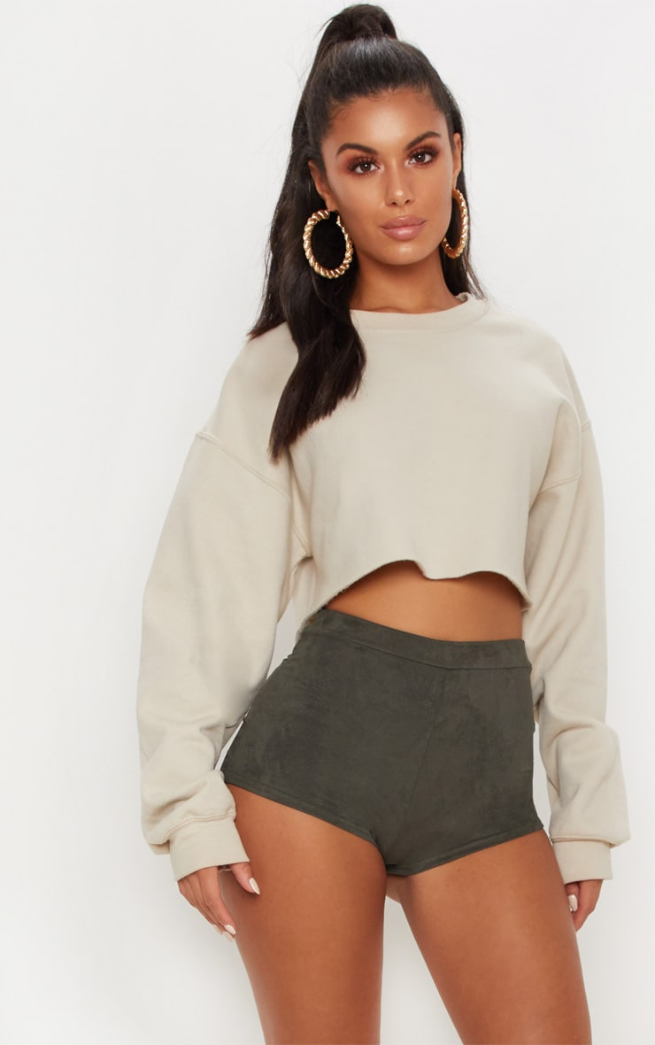 Khaki Faux Suede Hot Pant