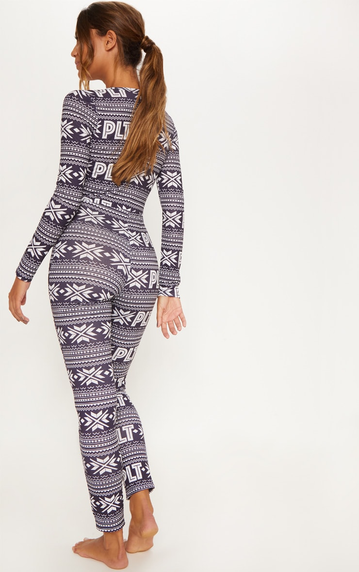 PRETTYLITTLETHING Navy Fairisle Button Neck Onesie 2