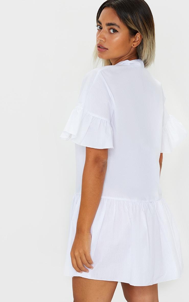 Petite White Drop Hem Short Sleeve Shirt Dress 2
