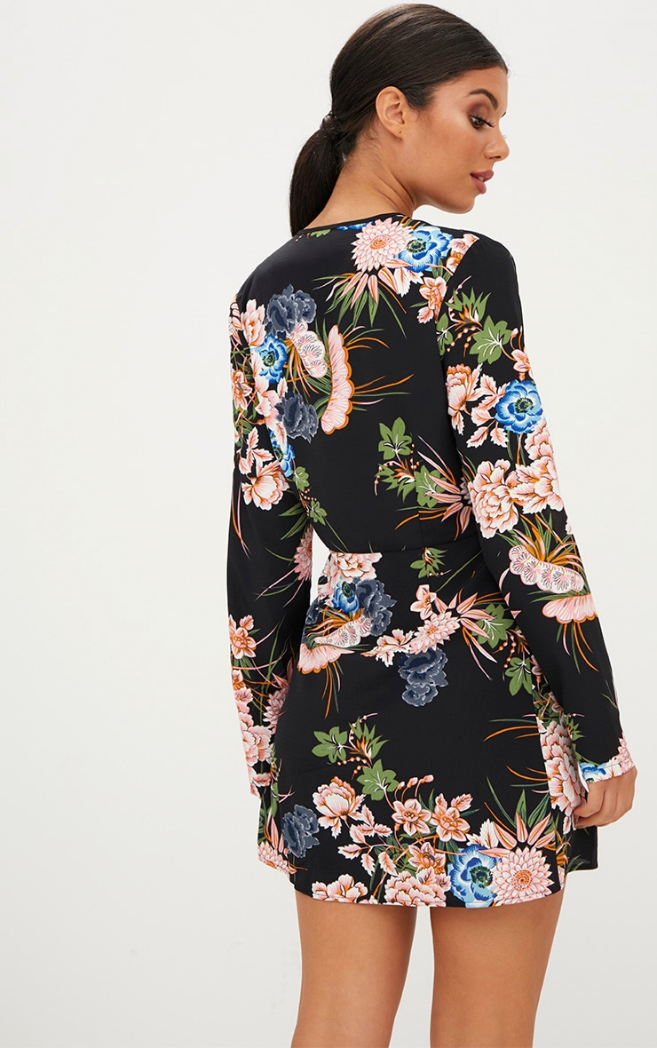 Black Floral Long Sleeve Wrap Dress 2