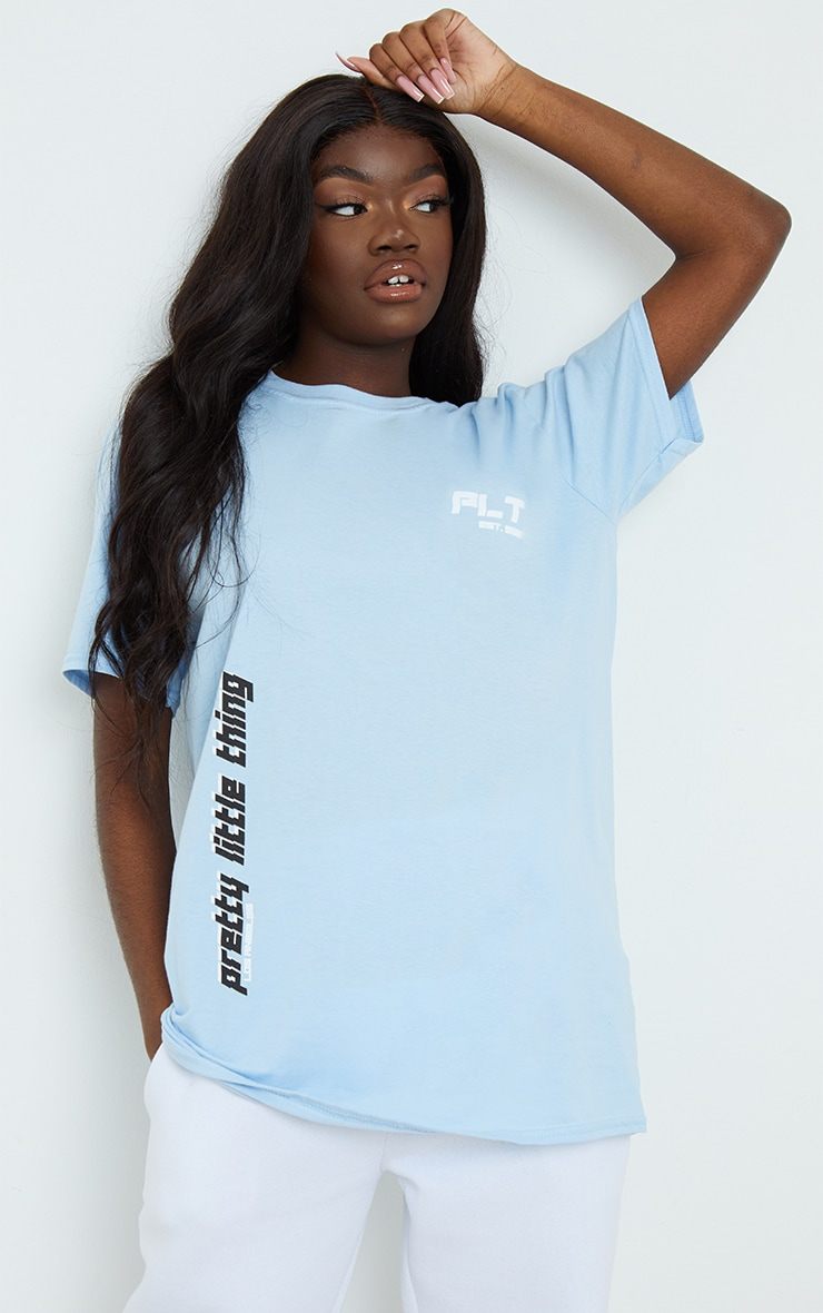 PRETTYLITTLETHING Blue Double Print T Shirt 1