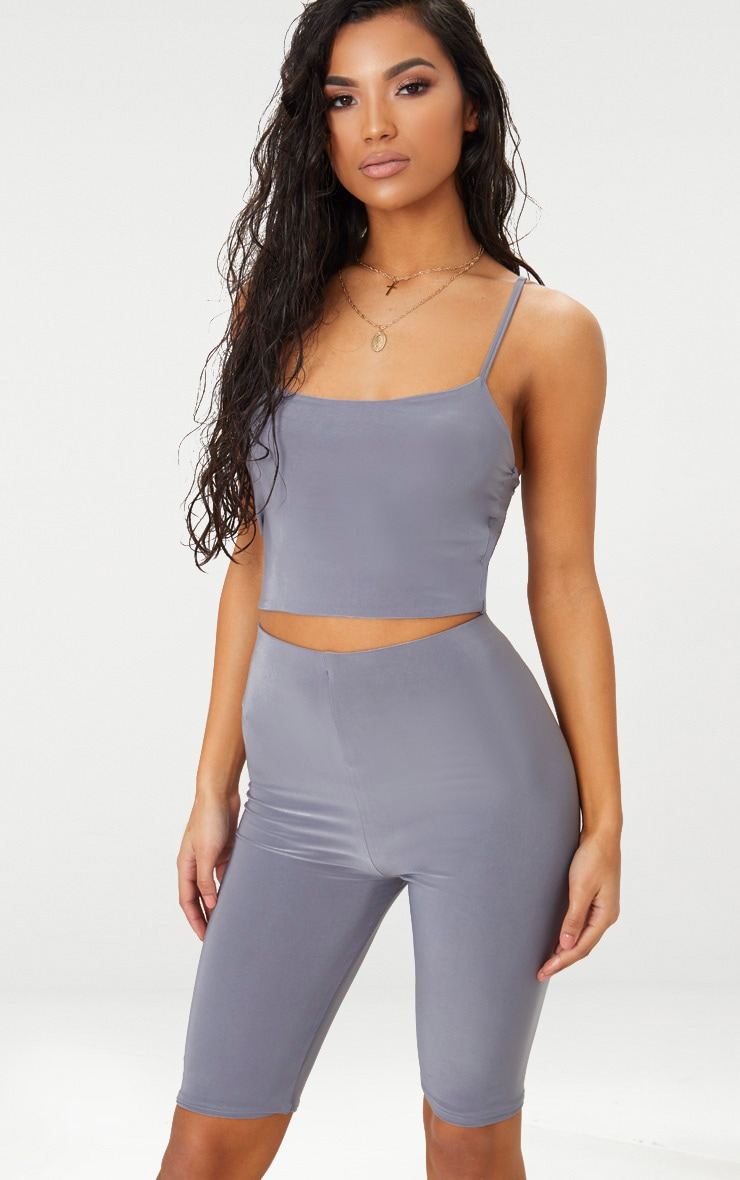 Grey Slinky Cami Crop Top 1