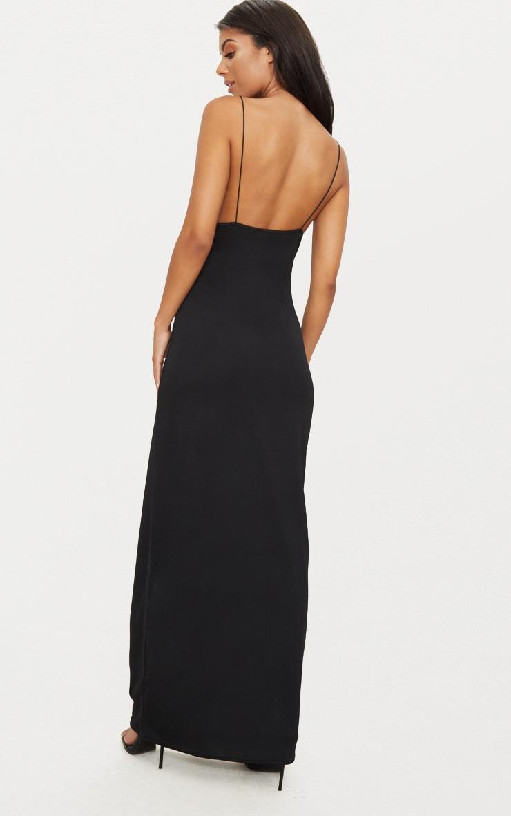 Black Strappy Detail Plunge Maxi Dress 2