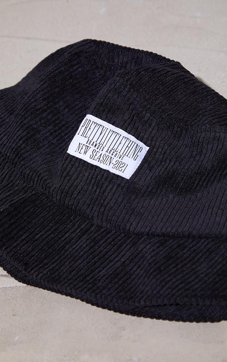 PRETTYLITTLETHING Cord Black Bucket Hat 3