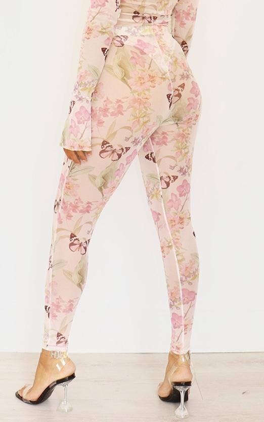 Petite Pink Butterfly Print Mesh Leggings 2
