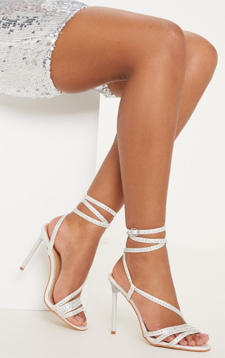 e5b1e4f2af5237 Silver Square Toe Jewel Embellished Sandal image 1