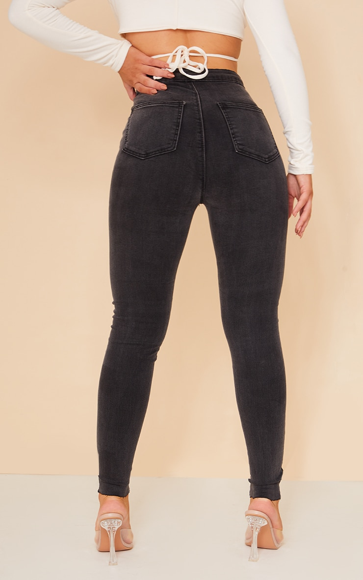 PRETTYLITTLETHING Washed Black Raw Hem Knee Rip Disco Skinny Jeans 3