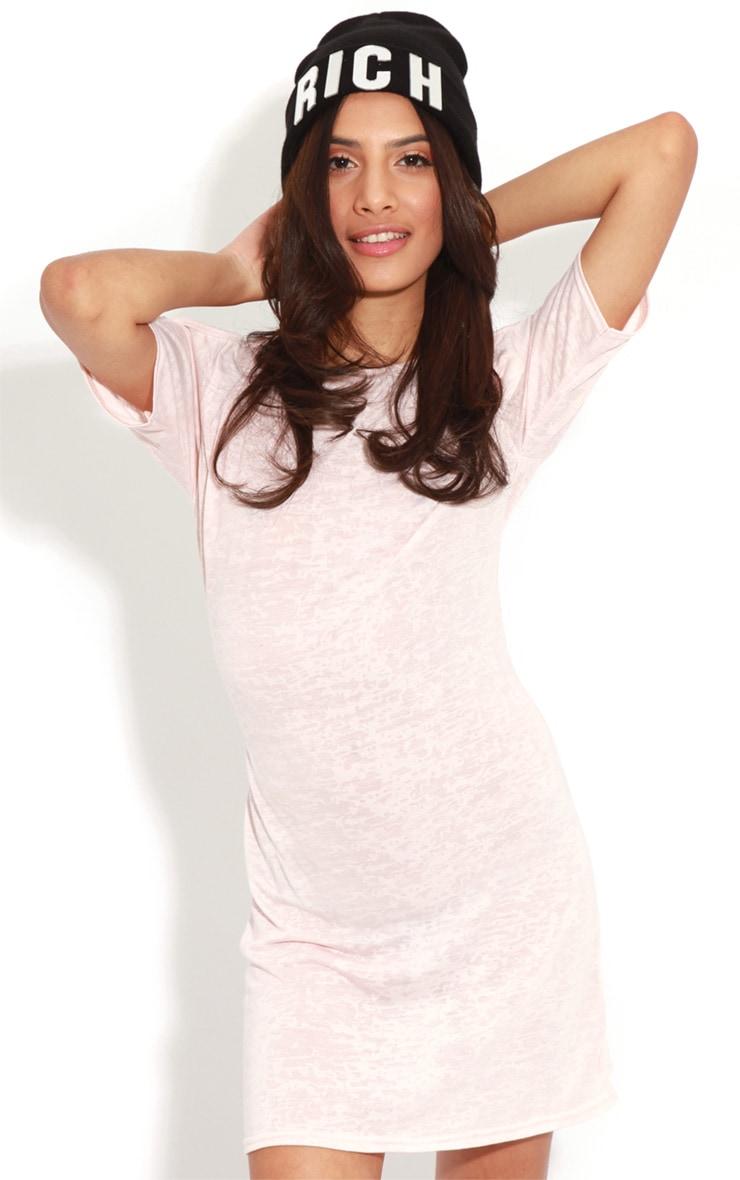 Gena Pink Burnout Cut Out Shoulder Dress 5