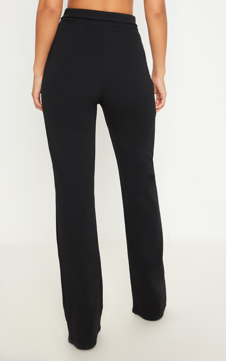 Black Belted Waist Straight Leg Trousers 4