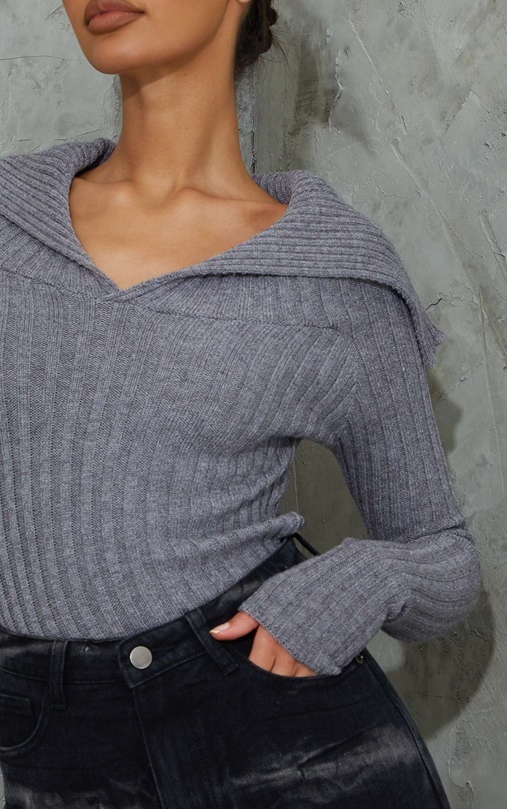 Charcoal Off Shoulder Collar Detail Ribbed Sweater 4