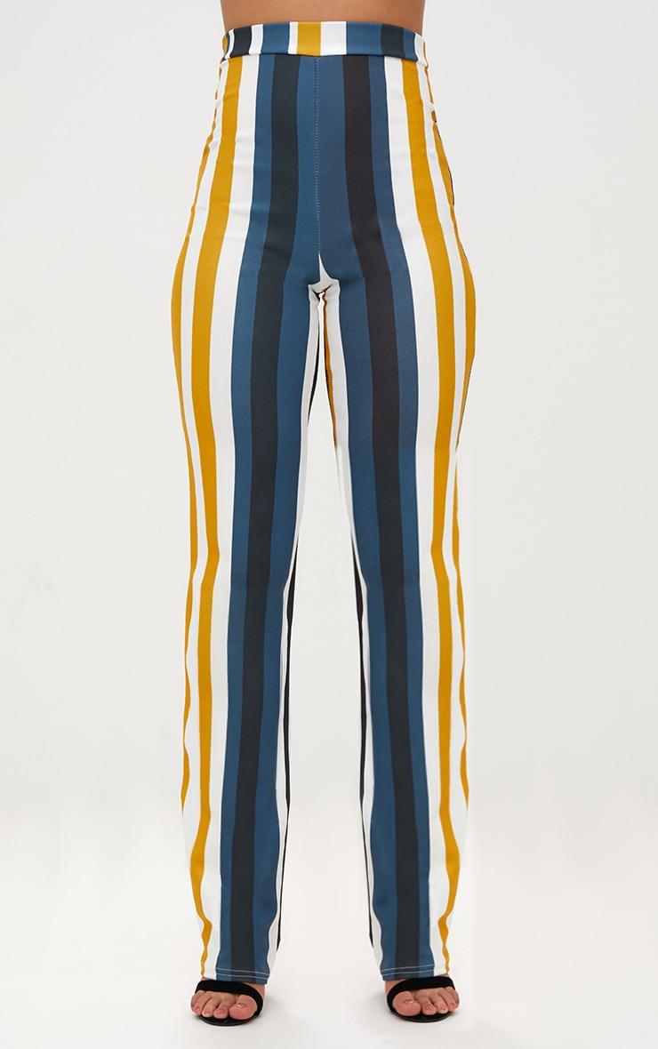 Mustard Staight Leg Striped Trouser  2