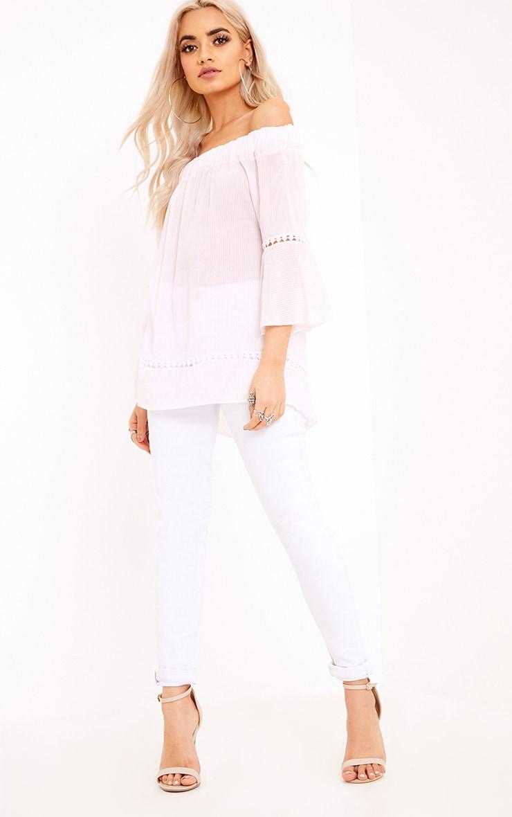 Althea Pink Stripe Bardot Crochet Detail Shirt 4